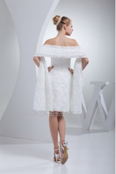 A-Line Strapless Short Knee-Length Reception Wedding Dresses with Shawl 2031508