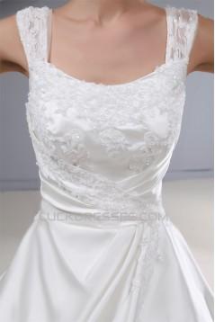 fashionable Straps A-Line Satin Lace Sleeveless Sweet Wedding Dresses 2030151
