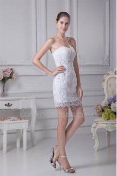 Sleeveless Strapless Sheath/Column Satin Organza Beaded Lace Wedding Dresses 2031510