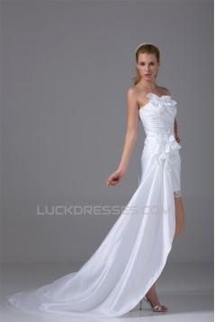 Sleeveless Taffeta Sheath/Column Handmade Flowers Reception Wedding Dresses 2031511