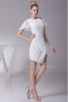 Sheath/Column Chiffon Short Sleeve Sweet Reception Wedding Dresses 2031512