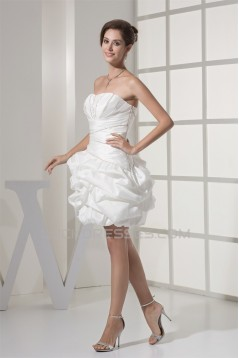 Sweetheart Ball Gown Satin Taffeta Short Beaded Reception Wedding Dresses 2031513
