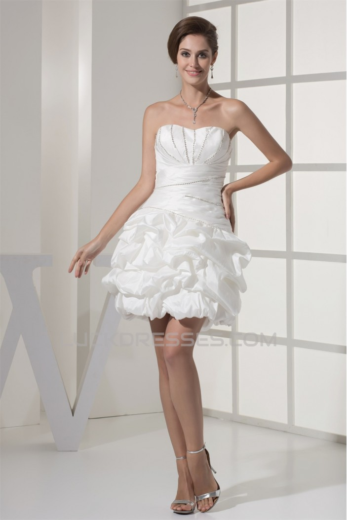Sweetheart Ball Gown Satin Taffeta Short Beaded Reception Wedding Dresses 2031513