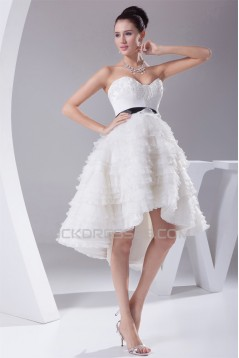 A-Line Sweetheart Ruffled Organza Short Reception Wedding Dresses 2031514