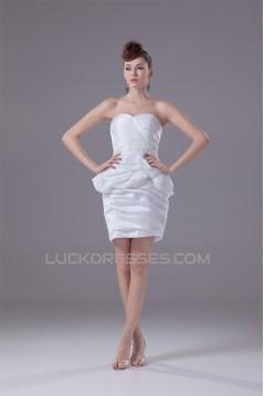 Sweetheart Taffeta Sheath/Column Sleeveless Short/Mini Wedding Dresses 2031515