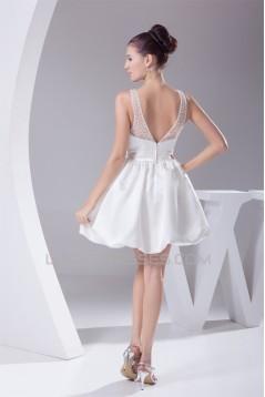 A-Line V-Neck Sleeveless Beaded Short Reception Wedding Dresses 2031516