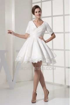 A-Line Short Sleeve V-Neck  Taffeta Lace Short Reception Wedding Dresses 2031517