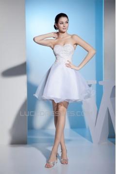 Wonderful Satin Organza A-Line Sleeveless Sweetheart Short Wedding Dresses 2031518