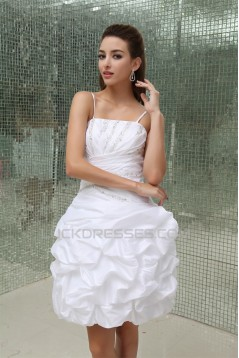 Wonderful Satin Taffeta Princess Spaghetti Straps Beaded Short Wedding Dresses 2031519
