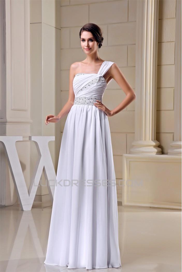 Floor-Length One-Shoulder Beading Sleeveless Wedding Dresses 2030152