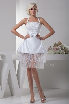 A-Line Halter Sleeveless Short Reception Wedding Dresses 2031520