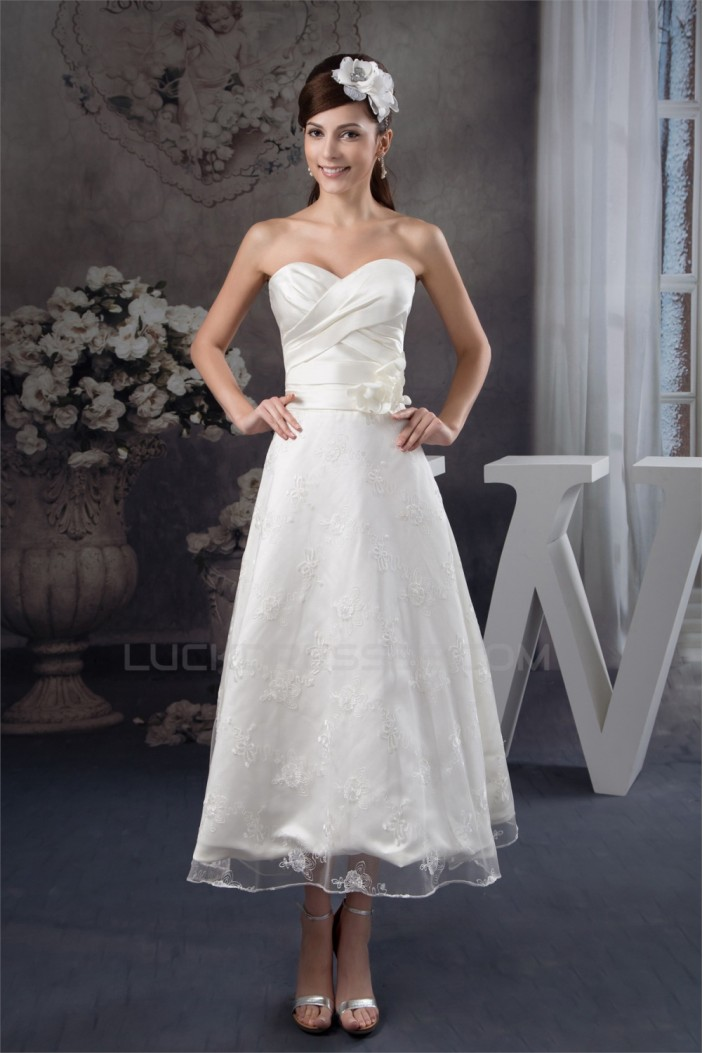 Attractive Sweetheart Sleeveless A-Line Tea Length Lace Little White Dresses 2031522