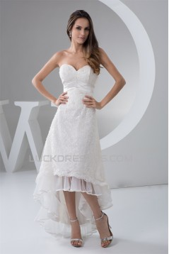 Fantastic A-Line Lace Sweetheart Sleeveless High Low Wedding Dresses 2031523