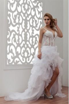 Fantastic Spaghetti Strap V-Neck Asymmetrical Satin Organza Beaded Wedding Dresses 2031524