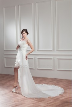 Great Sleeveless Satin Organza One-Shoulder A-Line High Low Wedding Dresses 2031525