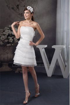 Short/Mini Sleeveless Strapless Beaded Sweet Wedding Dresses 2031527
