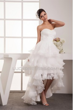 Satin Organza Taffeta A-Line Sweetheart High Low Wedding Dresses 2031529