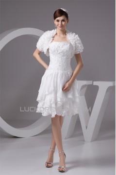 A-Line Strapless Chiffon Lace Beautiful Wedding Dresses with Jacket 2031530