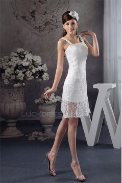 Sleeveless Lace Appliques Short Little White Short Wedding Dresses 2031531