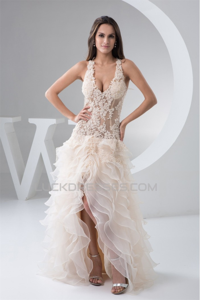 V-Neck Asymmetrical Sleeveless Ruched Satin Fine Netting Wedding Dresses 2031534