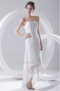 A-Line Soft Sweetheart Satin Lace Sleeveless High Low Wedding Dresses 2031536