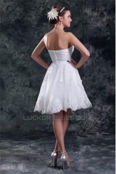 Beautiful Satin Organza Sweetheart Princess Short Lace Wedding Dresses 2031538