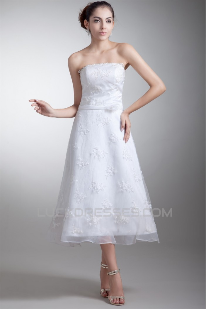 Beautiful Strapless Satin Lace A-Line Tea-Length Wedding Dresses 2031539