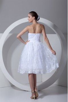 A-Line Strapless Satin Lace Wedding Dresses 2031540