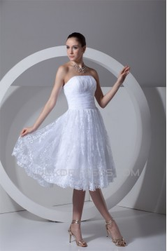A-Line Strapless Satin Lace Wedding Dresses 2031540