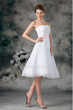 A-Line Sleeveless Strapless Satin Organza Wedding Dresses 2031541