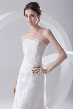 Satin Lace A-Line Soft Sweetheart Reception High Low Wedding Dresses 2031544