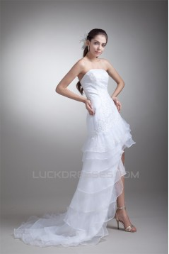 Sleeveless Strapless A-Line Satin Lace Organza Embellished Wedding Dresses 2031546