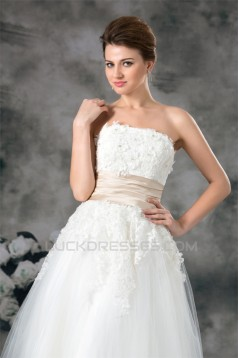 A-Line Sleeveless Strapless Ankle-Length Lace Wedding Dresses 2031547