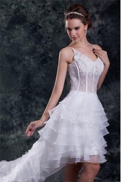 Unique Design V-Neck Satin Organza Lace A-Line High Low Wedding Dresses 2031548