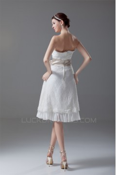 A-Line Strapless Satin Lace Sleeveless Short Wedding Dresses 2031549