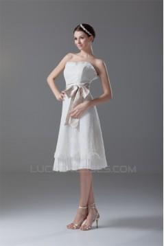 A-Line Strapless Satin Lace Sleeveless Short Wedding Dresses 2031549