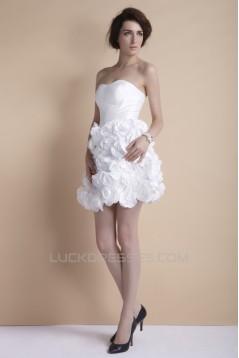 Short/Mini Strapless Handmade Flowers Reception Wedding Dresses 2031551