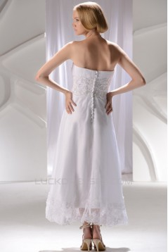 Wonderful Strapless Satin Lace A-Line Ankle-Length Wedding Dresses 2031552