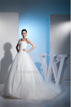 A-Line Beaded Lace Strapless Wedding Dresses 2030156