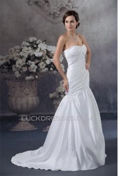 Great A-Line Satin Sleeveless Sweetheart Best Wedding Dresses 2030158