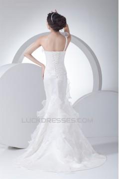 Mermaid/Trumpet Sleeveless One-Shoulder Beaded Lace Wedding Dresses 2030161