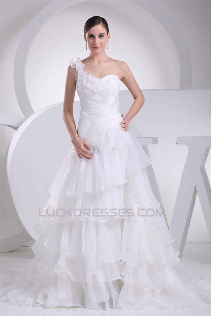 A-Line One-Shoulder Sleeveless Wedding Dresses 2030163