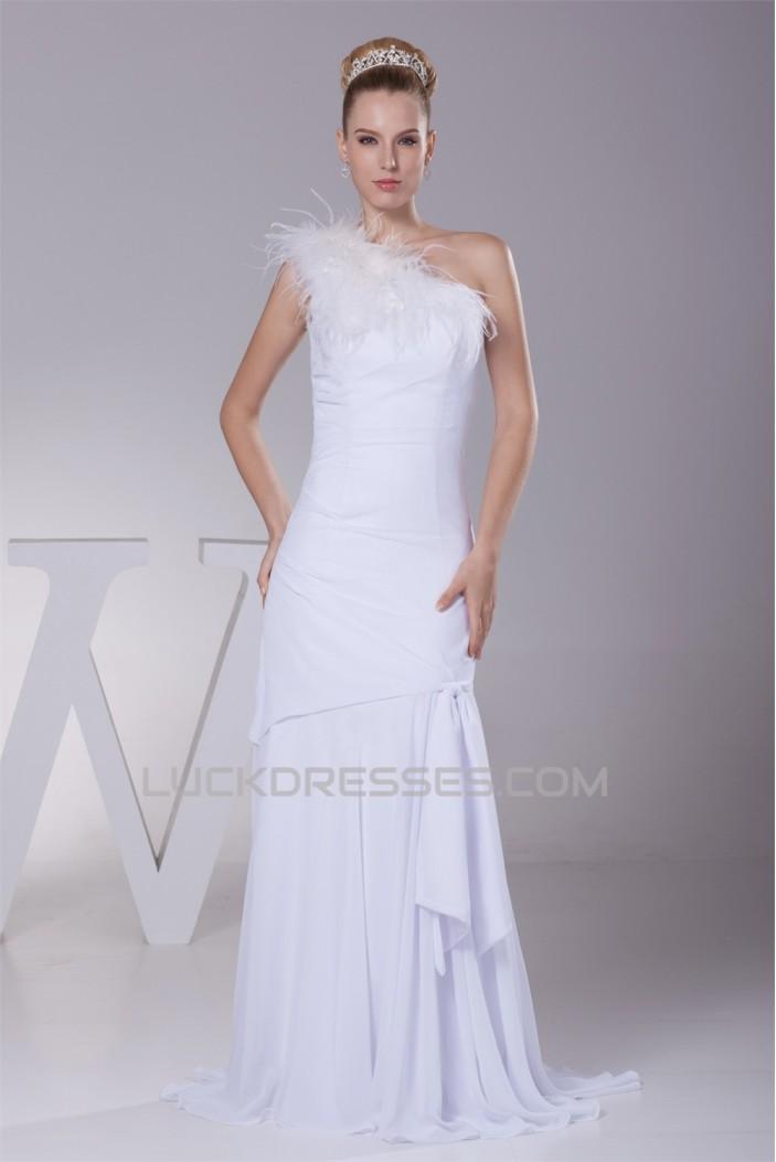 Great Sheath/Column Chiffon One-Shoulder Wedding Dresses 2030164
