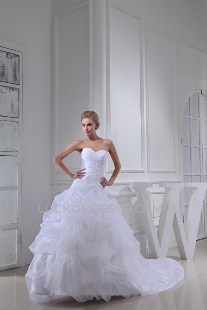 Great Sleeveless Sweetheart Satin Lace Organza Best Wedding Dresses 2030165