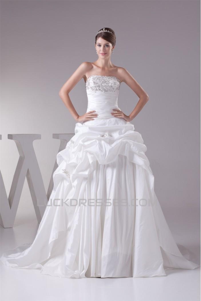 Great Sleeveless Taffeta Sweetheart Princess Wedding Dresses 2030166
