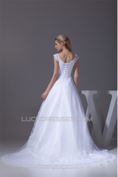 Great V-Neck A-Line Short Sleeve Lace Wedding Dresses 2030168