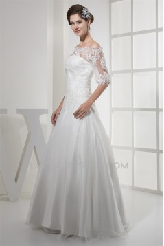 A-Line Off-the-Shoulder Half Elbow Sleeve Floor-Length Sweet Wedding Dresses 2030169