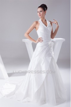 Halter Sleeveless A-Line Satin Taffeta Fine Netting Most Beautiful Wedding Dresses 2030170