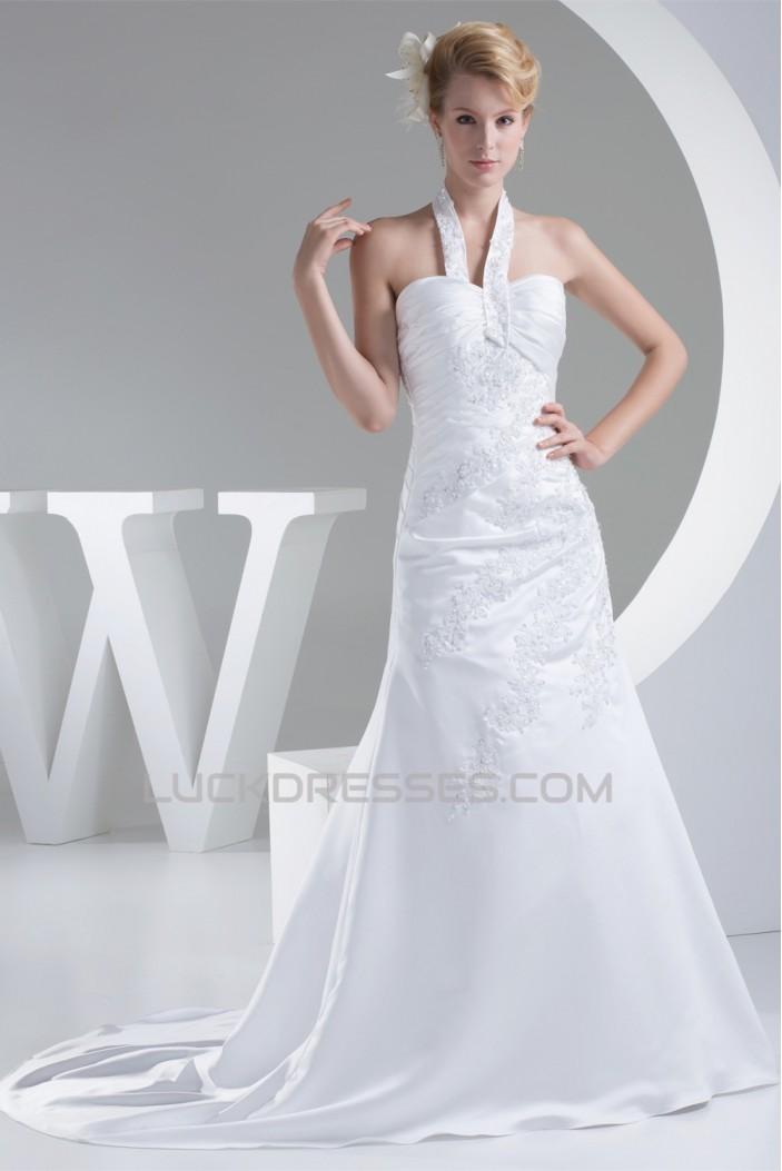 A-Line Halter Sleeveless Satin Lace Sweet Wedding Dresses 2030171