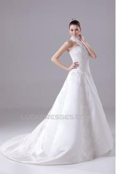 A-Line High-Neck Satin Lace Wedding Dresses 2030175
